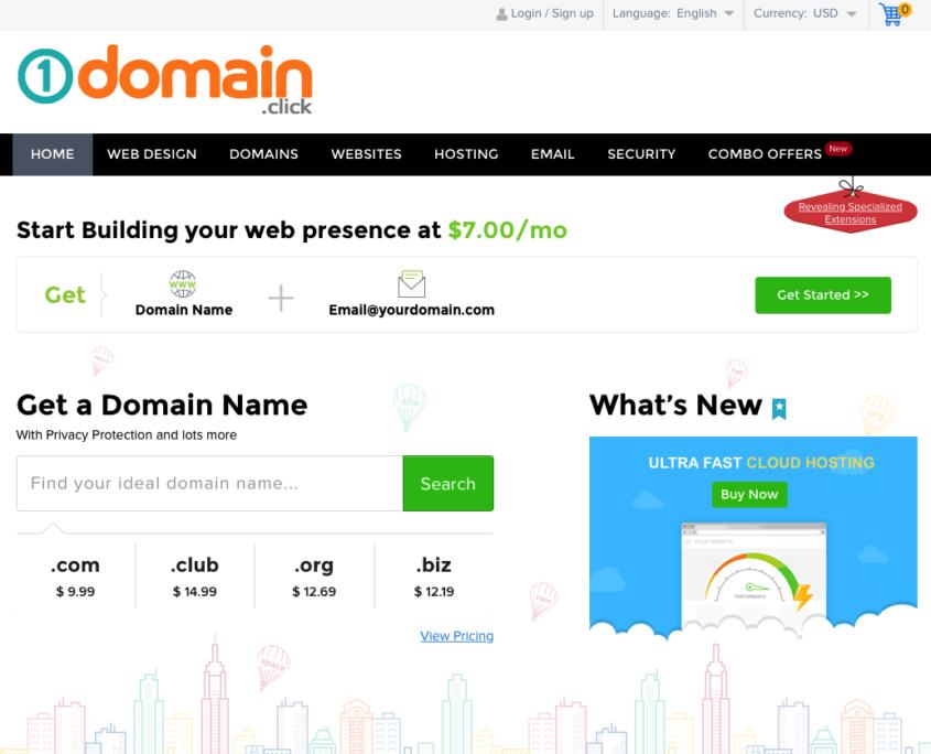 1domain.click home sshot 845x684 - Domain Registration